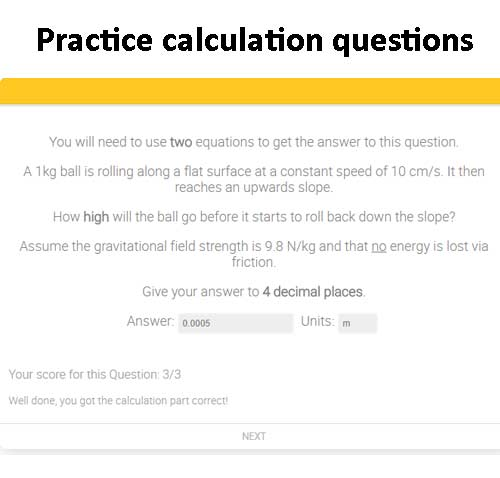 GCSE Science calculation questions